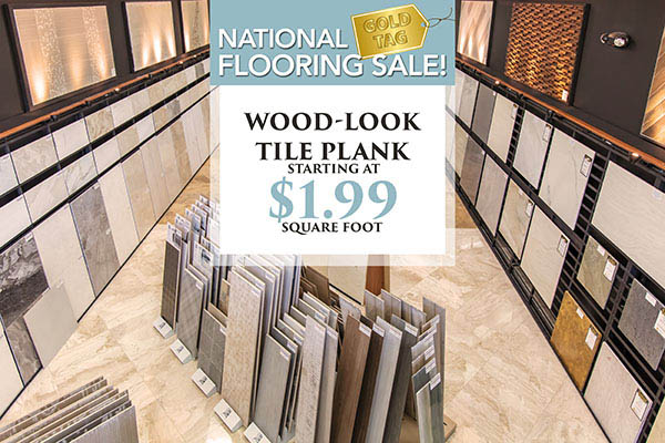 Wood-look tile plank starting at $1.99 sq.ft.