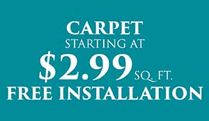 Carpet on sale $2.99 sq.ft. with free installation this month at Abbey Carpet & Floor in Naples.